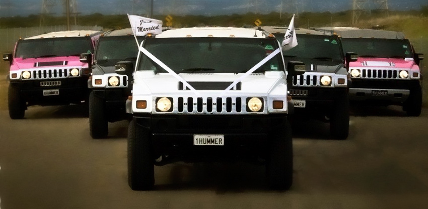 White Black Pink Stretch Hummer Fleet